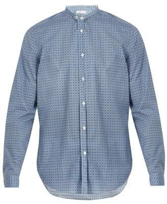 Boglioli Stand Collar Spotted Print Cotton Poplin Shirt - Mens - Blue