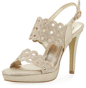Adrianna Papell Grommet Embroidered Platform Sandal