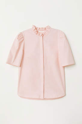 H&M Puff-sleeved Blouse - Pink