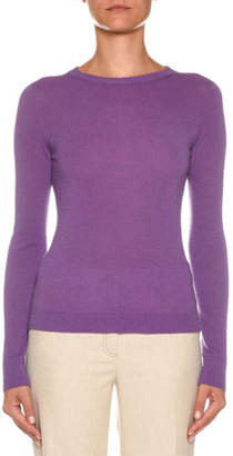 Agnona Crewneck Long-Sleeve Cashmere-Blend Sweater