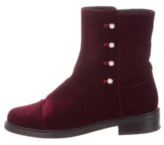Stuart Weitzman Velvet Round-Toe Boots