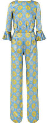 Seren - Gee Open-back Printed Silk-satin Jumpsuit - Blue