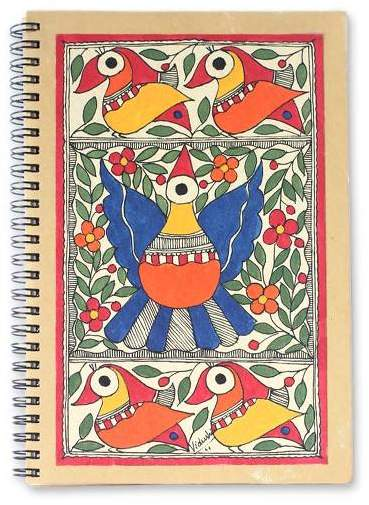 Festive Birds Madhubani painting journal