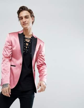 Asos DESIGN Super Skinny Tuxedo Blazer In Pink Sateen
