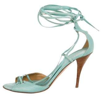 Hermes Leather Lace-Up Pumps