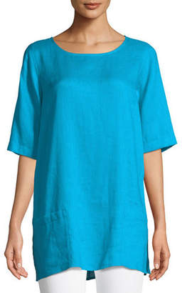 Caroline Rose Tissue Linen Front-Pocket Tunic , Plus Size