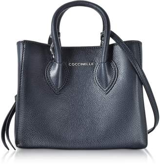 Coccinelle Farisa Blue Pebbled Leather Mini Tote Bag