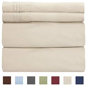 BEIGE King Size Sheet Set - 4 Piece - Hotel Luxury Bed Sheets - Extra Soft - Deep Pockets - Easy Fit - Breathable & Cooling Sheets - Wrinkle Free - Comfy – Tan Bed Sheets - Kings Sheets – 4 PC