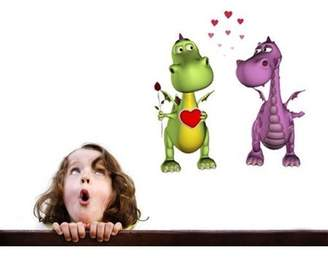 Mural Style and Apply Happy Dinos in Love Wall Decal - wall print decal, sticker, vinyl art home decor - DS 639 - 47in x 50in