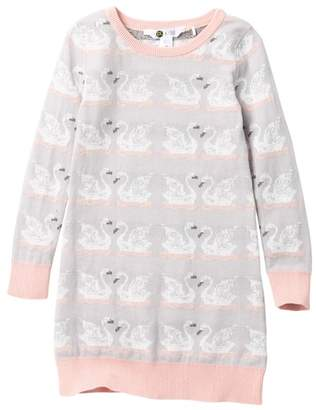 Petit Lem Swan Knit Dress (Toddler & Little Girls)