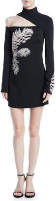 David Koma Mock-Neck Cutout-Shoulder Long-Sleeve Crepe Mini Dress w/ Embellished Feather