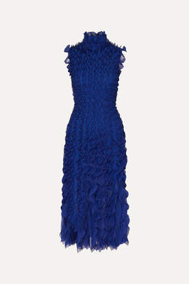 Alexander McQueen Ruffled Lace And Silk-trimmed Knitted Midi Dress - Royal blue