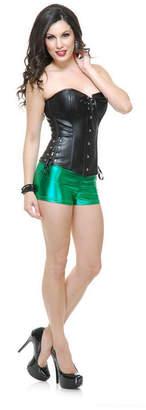 BuySeasons Women Liquid Metal Shorts Green