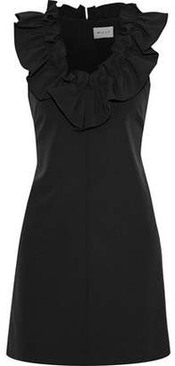 Milly Sadie Ruffle-Trimmed Stretch-Crepe Mini Dress