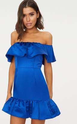 PrettyLittleThing Cobalt Jacquard Bardot Frill Bodycon Dress