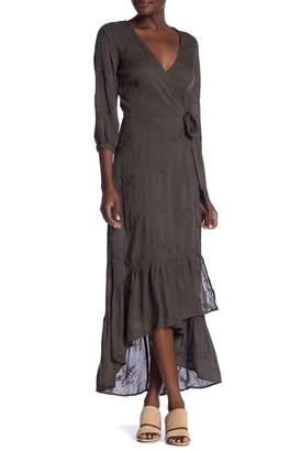 Love Stitch Eyelet Wrap Hi-Lo Dress