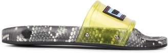 Versace snakeskin print slides
