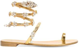 Giuseppe Zanotti Design 10mm Crystal Snake Bracelet Sandals