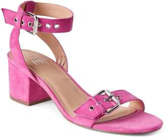 Gap Buckle Block Heel Sandals in Suede