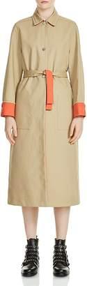 Maje Gemma Contrast-Trim Trench Coat