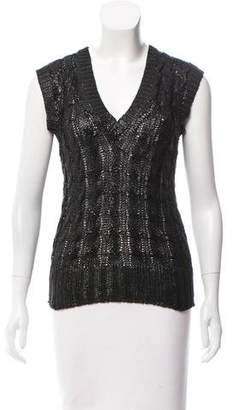 Oscar de la Renta Coated Cable Knit Sweater Vest