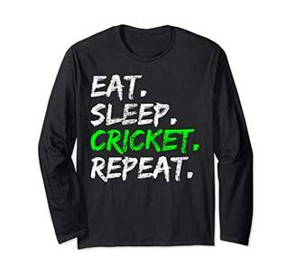 Cricket Vintage Eat Sleep Repeat Funny Player Gift Long Sleeve T-Shirt