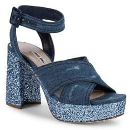 Miu Miu Glittered Criss Cross Platform Sandals