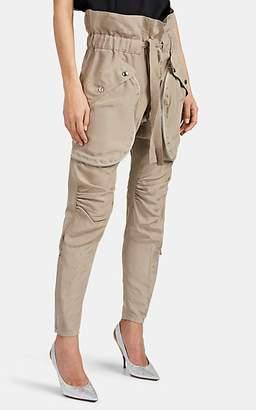 Faith Connexion Women's Belted Silk Cargo Pants - Beige, Tan