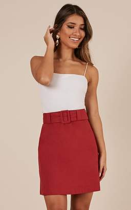 Showpo Echos Of Love Skirt In chilli linen look - 20 (XXXXL) Sale