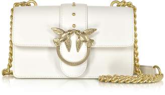Pinko Mini Love Simply 3 White Leather Shoulder Bag