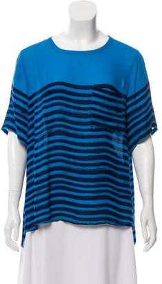 Vince Silk Striped Short Sleeve Top