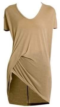 Rick Owens V-Neck Viscose Silk Jersey Sid T-Shirt