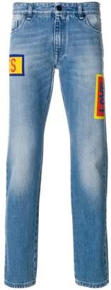 Fendi stonewashed printed jeans