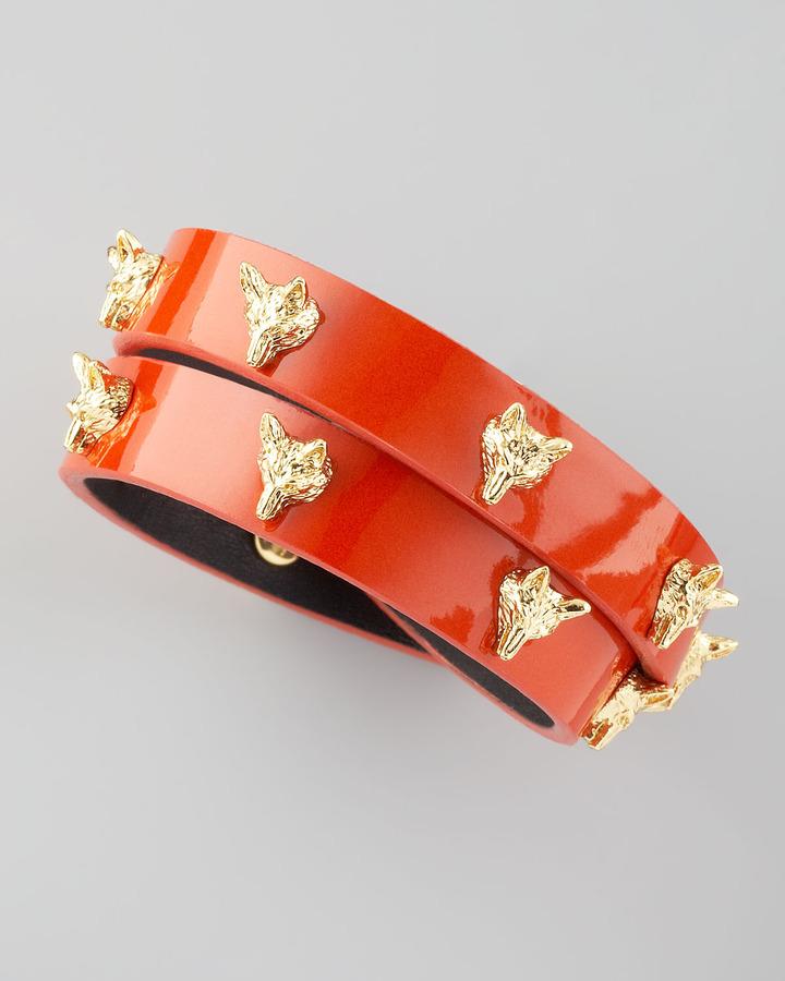 Tory Burch Fox-Studded Wrap Bracelet, Wildberry