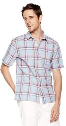 Isle Bay Linens Men's Short Sleeve Plaid Slim Woven Hawaiian Shirt L