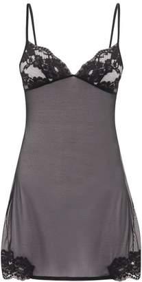 La Perla Lace Trimmed Tulle Slip - Womens - Black