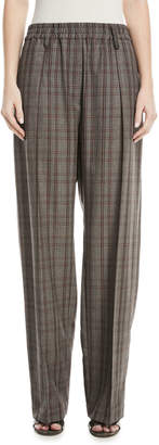 Brunello Cucinelli Elasticized-Waist Plaid Wool Pull-On Pants w\/ Monili Belt Loop