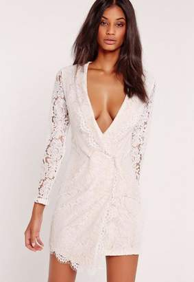 Missguided Lace Wrap Blazer Dress White