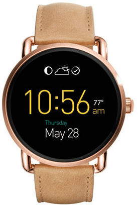 Fossil Q Wander Touchscreen Leather Strap Smartwatch $295 thestylecure.com