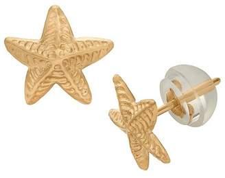 Tiara Kid's Starfish Stud Earrings in 14K Yellow Gold