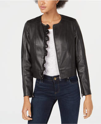 Maison Jules Ruffled Faux-Leather Jacket