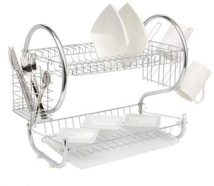 LESHP 2 Tier Universal Home Kitchen Organizer Chrome Plate Dish Cup Cutlery Drainer Rack Drip Tray Plates Storage Holder
