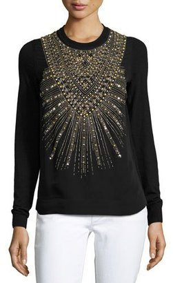 Ralph Lauren Collection Beaded & Studded Crewneck Sweater, Black $1,990 thestylecure.com