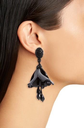 Women's Oscar De La Renta Small Impatiens Flower Drop Clip Earrings 3