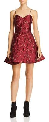 Alice + Olivia Anette Pleated Metallic Floral Dress