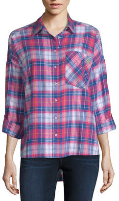 U.S. Polo Assn. USPA 3/4 Sleeve Collar Neck Flannel Shirt-Juniors