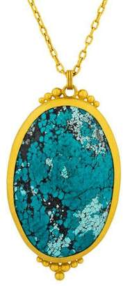 Gurhan 24K Chinese Turquoise Pendant Necklace