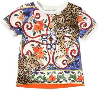 Dolce & Gabbana Maiolica & Leopard Cotton Jersey T-Shirt