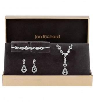 Jon Richard Silver Plated Crystal Floral Pendant, Bracelet and Earrings Set
