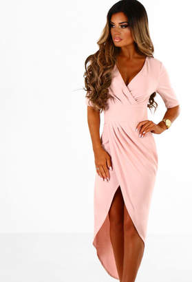 Pink Boutique Rumour Mill Rose Pink Asymmetric Wrap Front Maxi Dress